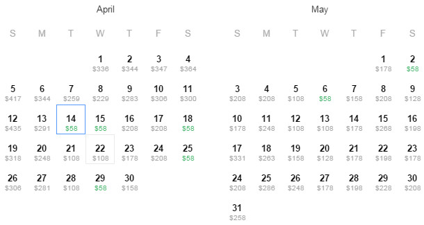 Flight Availability: Austin to Chicago as of 12:02 PM on 3/24/2015.