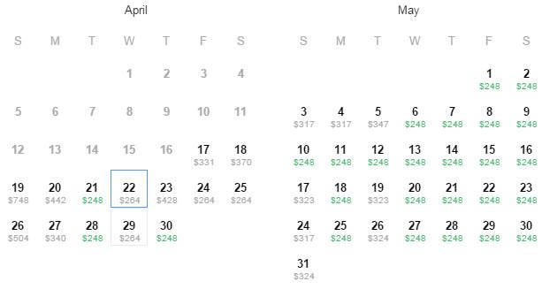 Flight Availability: San Antonio to Acapulco as of 3:35 AM on 4/17/2015.