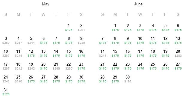 Flight Availability: San Antonio to Monterrey as of 2:53 PM on 4/20/2015.