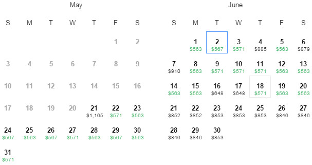 Flight Availability: Dallas to Rio as of 12:04 PM on 5/21/15.