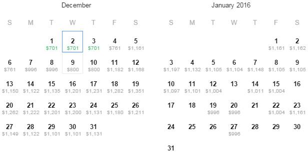 Flight Availability: Austin to Helsinki as of 5:16 PM on 7/4/15.