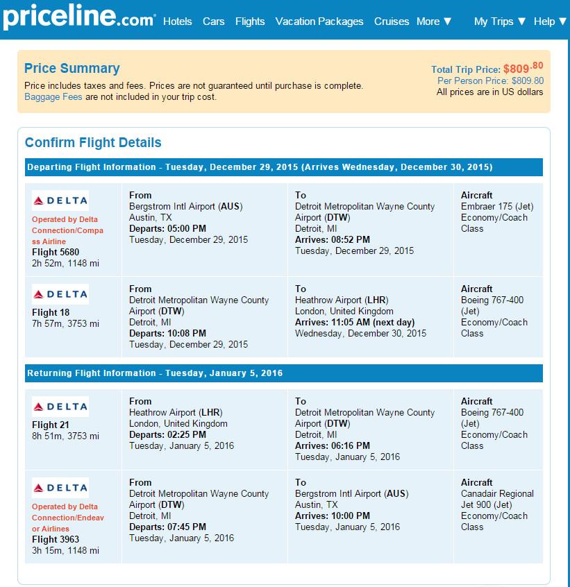 Example of spending New Years weekend in London via Priceline.