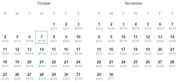 Flight Availability: Austin to Washington, DC as of 11:16 AM on 7/17/15.