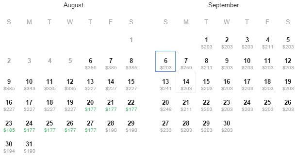 Flight Availability: Austin to Los Angeles as of 1:03 PM on 8/6/15.