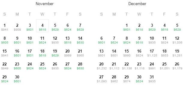 Flight Availability: Austin to Barcelona as of 11:53 AM on 09/04/15.