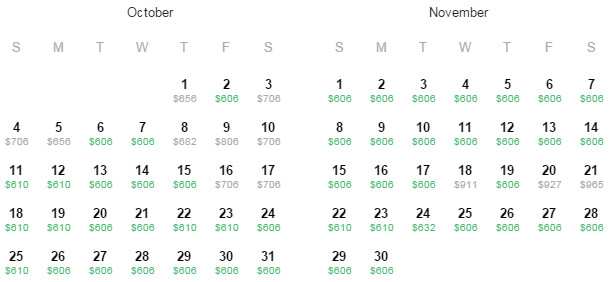 Flight Availability: Austin to Madrid as of 11:53 AM on 09/04/15.