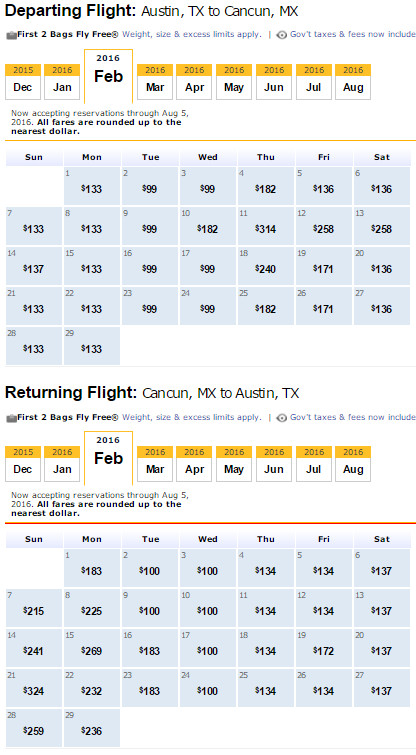 Flight Availability: Austin to Cancun as of 5:55 PM on 12/14/15.