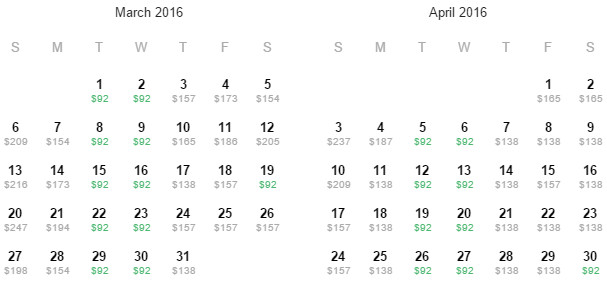 Flight Availability: Departing Austin to San Francisco as of 5:00 PM on 12/17/15.