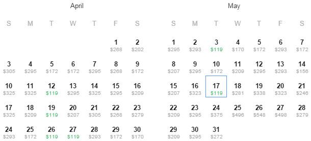 Flight Availability: Austin to Aruba as of 2:18 PM on 3/15/16.