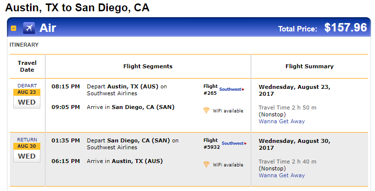 Nonstop Flights Austin Or San Antonio To From San Diego