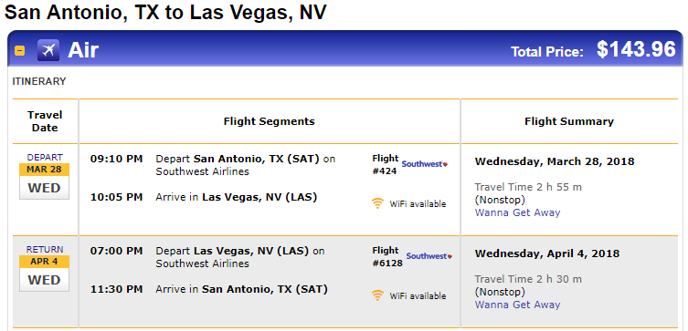 Nonstop Flights San Antonio To From Las Vegas 144 R T